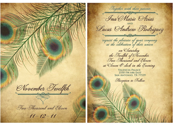 Peacock Wedding Invitations Template: 301 Moved Permanently